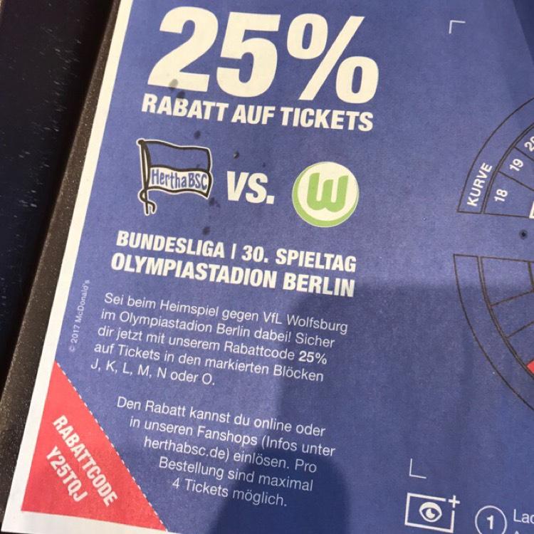 25% Rabatt auf Tageskarten für Hertha BSC vs. VfL Wolfsburg am 22.04.2017 um 15:30 Uhr
