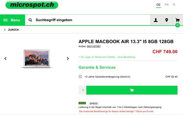 "APPLE MACBOOK AIR 13.3"" I5 8GB 128GB - Schweiz Deal - ca. €700.-"