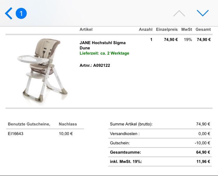 [babymarkt.de] JANE Hochstuhl