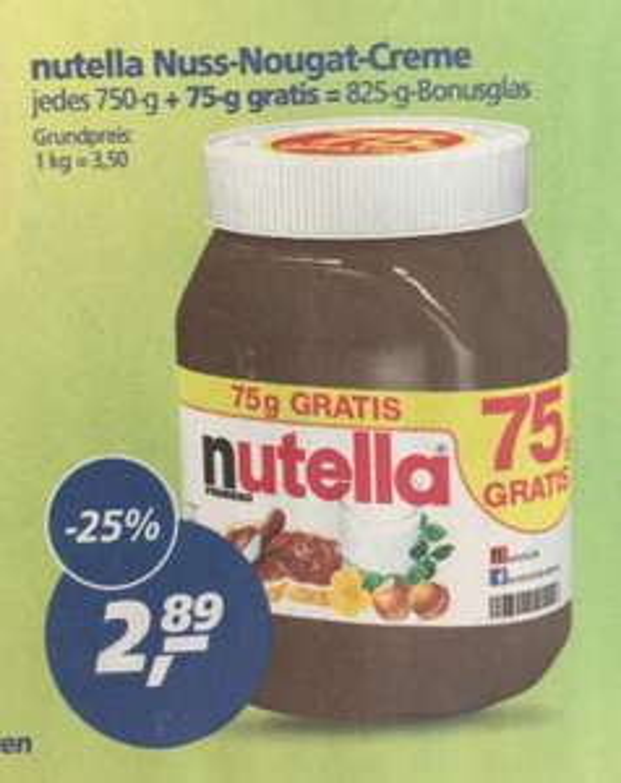 Nutella 825g Glas für 2,89€ [Real]