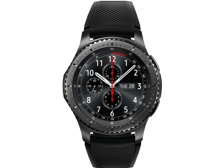 Media Markt SAMSUNG Gear S3 Frontier Smartwatch Silikon, 22 mm, Korpus: Space Gray, Silikon-Armband: Blue Black