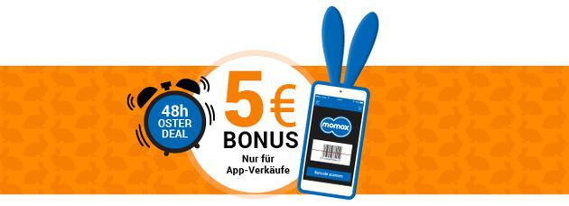 5€ on Top für Verkäufe bei Momox