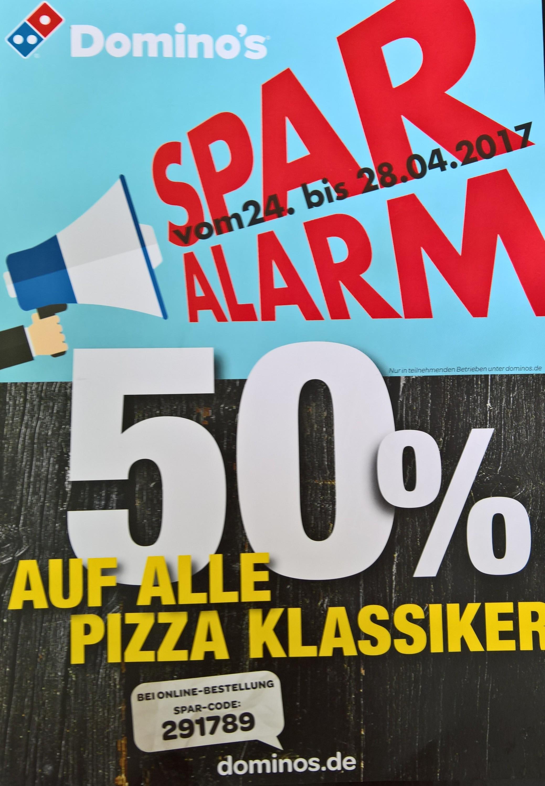 Dominos 50% auf alle Pizza Klassiker vom 24-28.04.2017