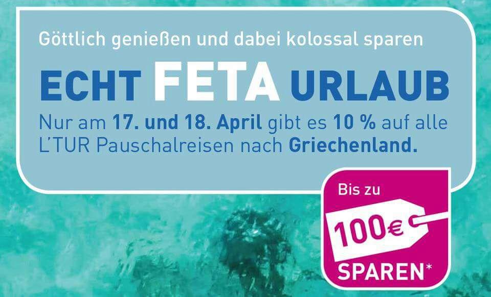 L'TUR - 10% / bis zu 100€ auf alle Griechenland - Reisen