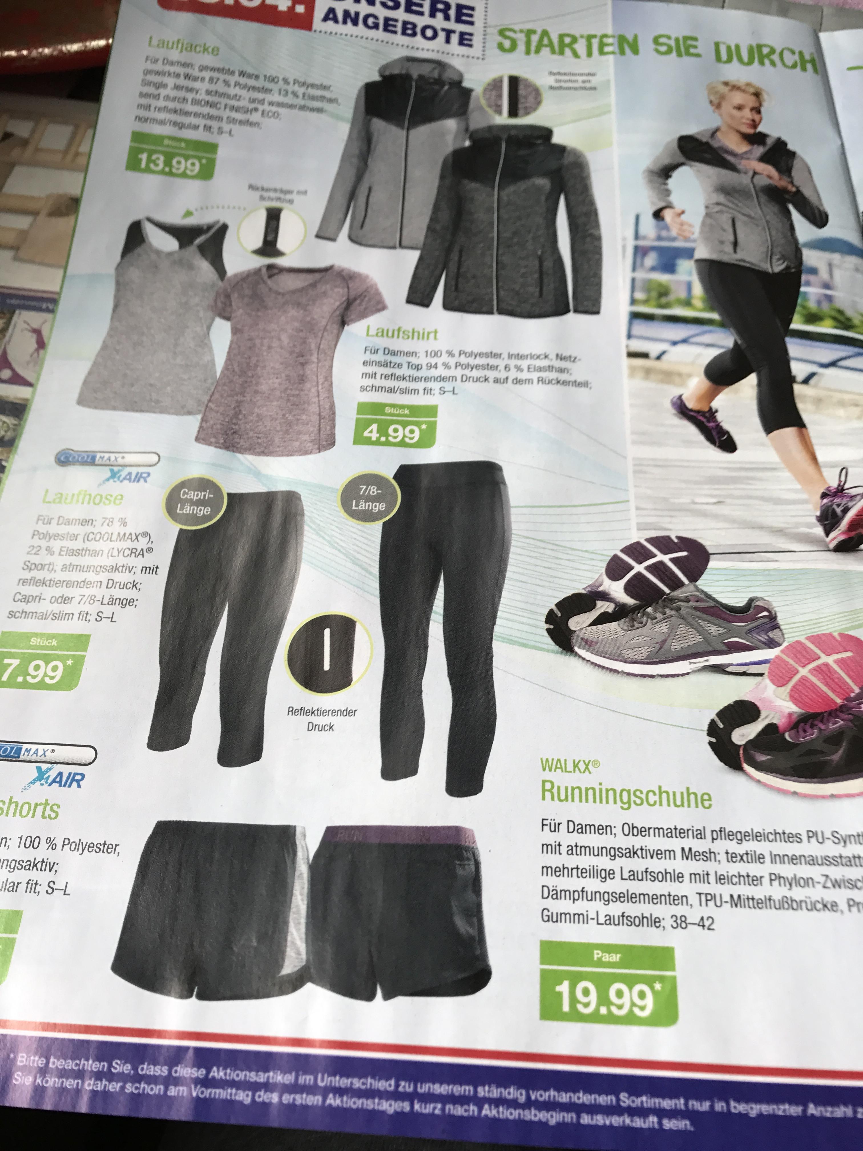 Herren und Damen Laufshorts/Laufhosen oder Laufshirts für je 5,99€. Auch andere Laufsachen in der Beschreibung @Aldi Nord (ab morgen,18.04.2017)