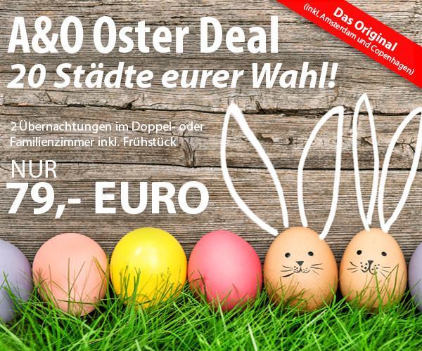 A&O Ostergutschein: 2 Übernachtungen mit Frühstück für 2 Personen nur 79.- €