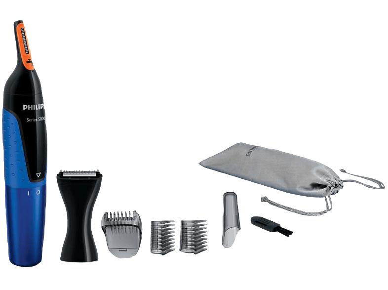Philips NT5175/16 - Nasen & Ohren Haartrimmer (Dual Cut-Trimmer) 170 Watt - 3 Aufsätze zum Trimmen von Gesichtshaar, Schutzkappe, Stofftasche, Reinigungsbürste, AA-Batterie [Mediamarkt] - BESTPREIS