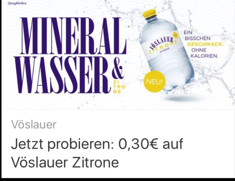 [Coupies und Rewe, Edeka, Müller, Kaufhof] Vöslauer Zitrone 0,39€ - 43% Ersparnis