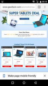 GearBest Tablet für 19.99€ Flash Deals