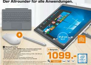 [Lokal Saturn Hamburg/Norderstedt] Microsoft Surface Pro 4 31,24 cm (12,3 Zoll) Tablet-PC (Intel Core i7, 8GB RAM, 256GB, Intel Iris, Windows 10 Pro) + Maus + Type Cover + Stift + 1 Jahr Office für 1099,-€