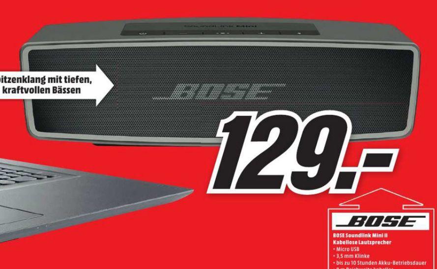 [Lokal Mediamarkt Reutlingen] Bose SoundLink Mini II Bluetooth Lautsprecher in Schwarz oder Weiß für je 129,-€