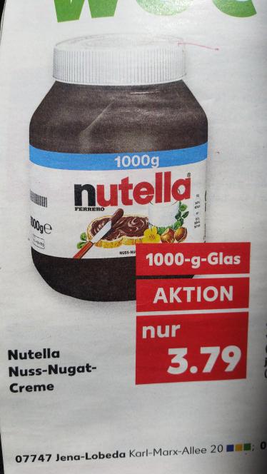 Nutella 1000g für 3.79 € ab 24.04.17 - Kaufland