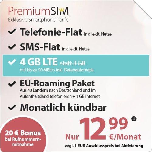 PremiumSim 4GB LTE, Allnet+SMS Flat, EU Roaming, Monatlich kündbar 12,99