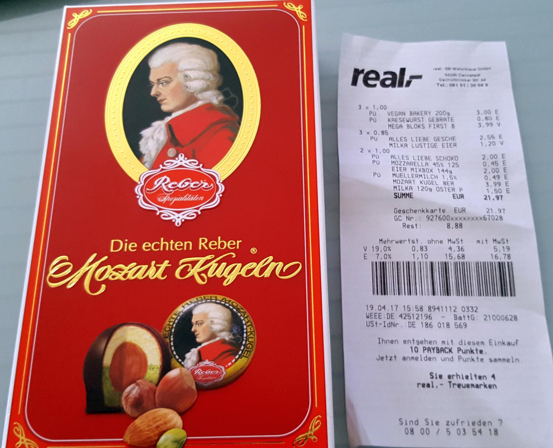 [REAL DARMSTADT] Reber Mozartkugeln 160g für nur 3,99€ [Preisfehler?]
