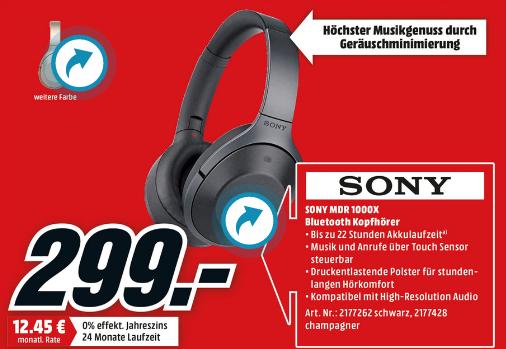 Sony MDR-1000X Bluetooth NC Kopfhörer für 299€ [Media Markt]