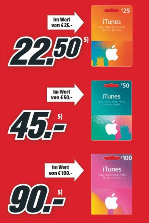 [Media Markt offline] 10% auf Itunes Guthaben Karten (25€/50€/100€)