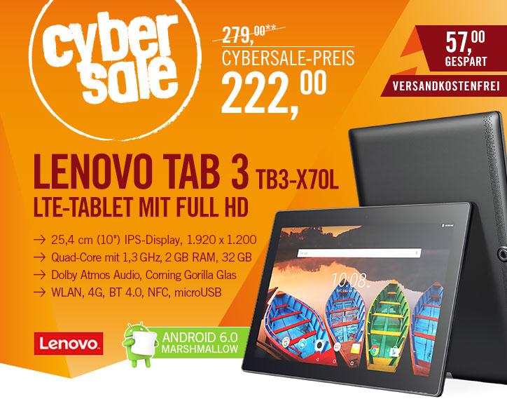 Cyberport, Lenovo Tab3 Business TB3-X70L 32GB LTE, 222 Euro inkl. Versand