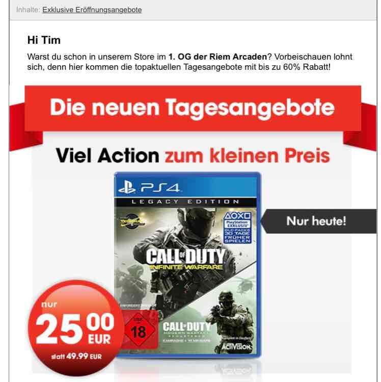 Call of Duty: Infinite Warfare Legacy Edition inkl. Modern Warfare Remastered (PS4) für 25€ lokal München Riem