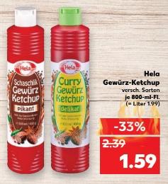[Kaufland ab 27.04.] Hela Gewürz-Ketchup versch. Sorten für 1,59€