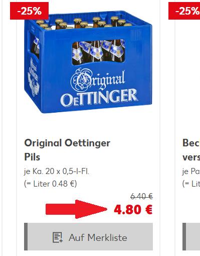 Kaufland (Wahrscheinlich regional SRB, LOS, MOL) Oettinger verschiedene Sorten 20 x 0,5 l