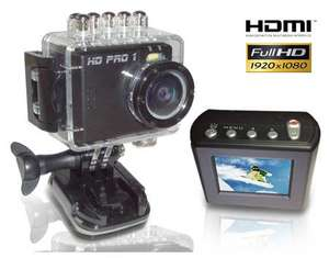 HD PRO 1 Action Cam Full HD, 5 Megapixel, 1,5 Zoll LCD Display, 4-fach dig. Zoom, HDMI, USB, AV-Out, Schwarz für 34,95€ @ allyouneed