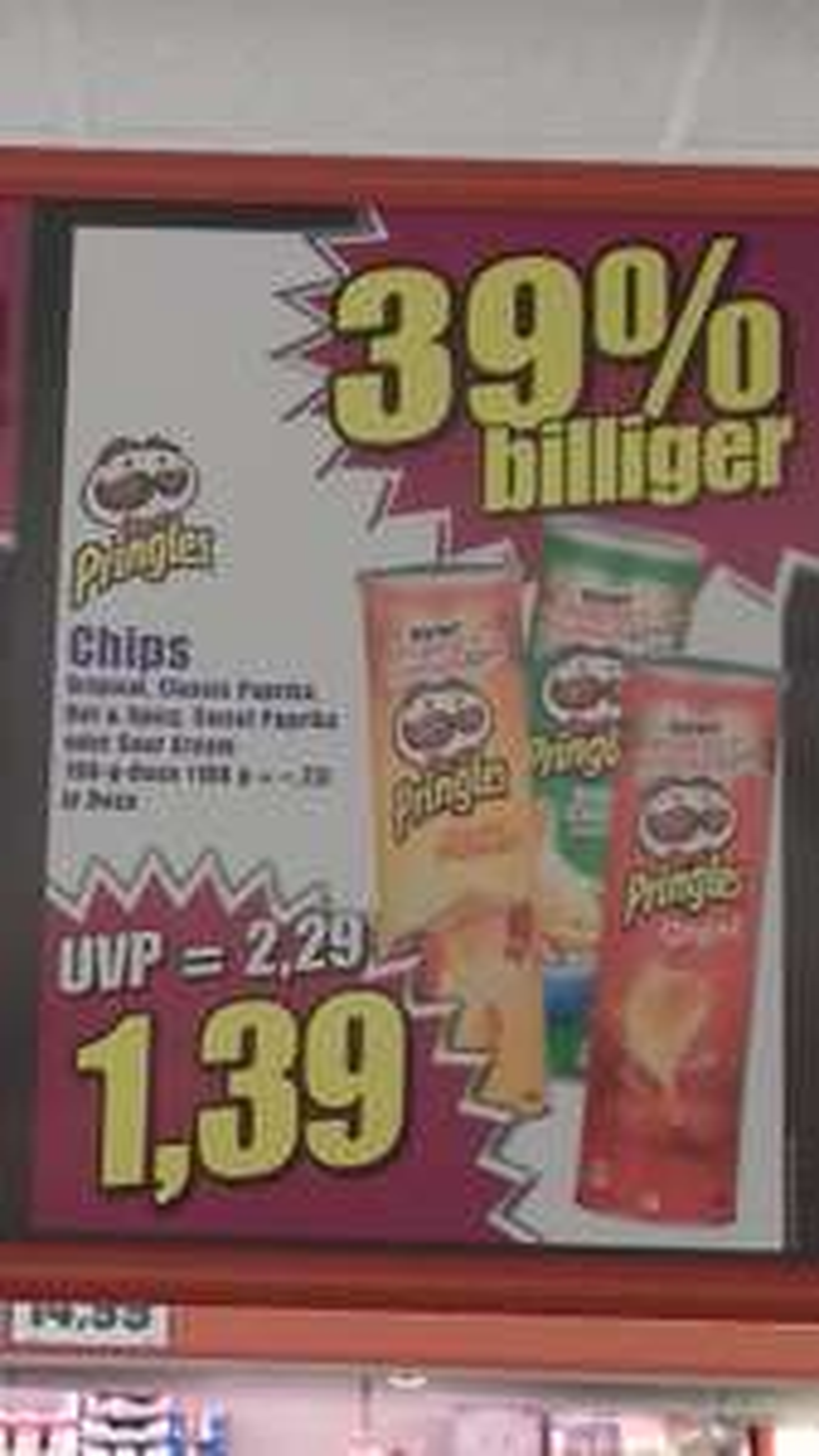 Pringles Chips versch. Sorten je 1,39€ (NORMA)