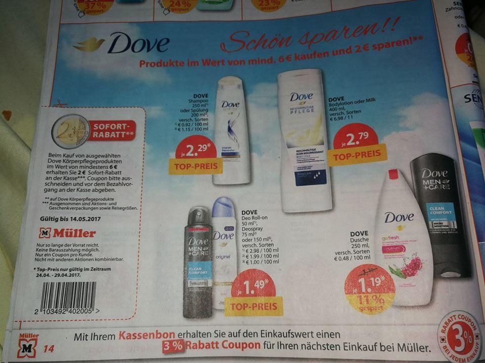 [MÜLLER DROGERIE BUNDESWEIT KW17] Dove Produkte günstig im Multikauf. 6x Dove Dusche für 0,85€ à/ 5x Dove Deo für 1,09€ à / 3x Dove Shampoo oder Spülung für 1,62€ à