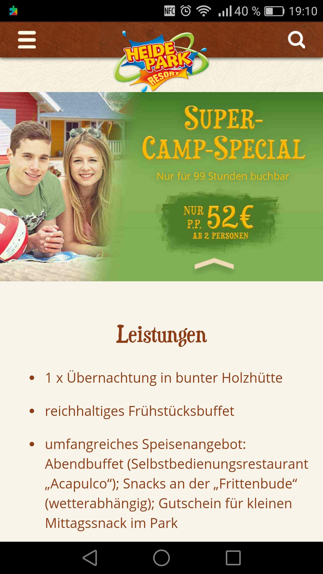 Heide Park Super Camp Spezial 52€ p.p. All in und 2 Tage Eintritt