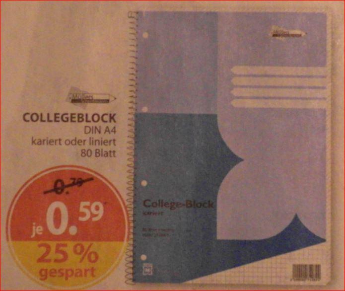 [Müller] College Block für Schule oder Studium, 80 Seiten, liniert oder kariert, jeweils 59 Cent