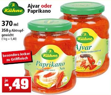 [Thomas Philipps ab 24.04.] Kühne Ajvar oder Kühne Paprikano (350 g Glas)