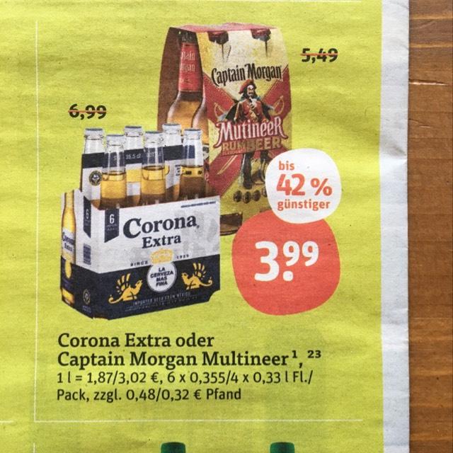 6x Corona Extra 0,355 l für 3,99 € bei TEGUT