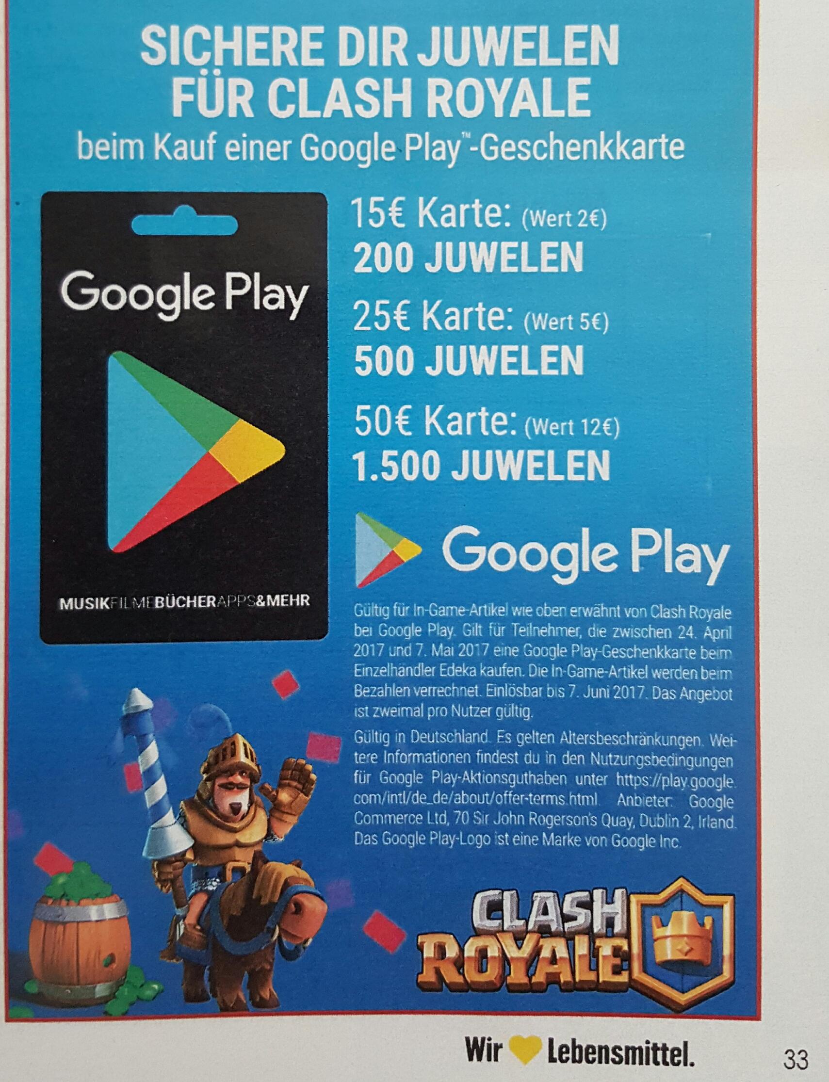 [Edeka] 1.500 ClashRoyale-Juwelen geschenkt beim Kauf von 50€ Google Play-Guthaben