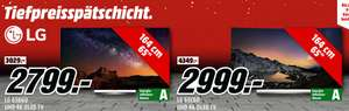 LG OLED65B6D 164 cm (65 Zoll) OLED Fernseher (Ultra HD, Triple Tuner, Smart TV) für  2799,-€ oder LG 65C6D OLED TV (Curved, 65 Zoll, UHD 4K, 3D, SMART TV, web OS) für 2999,-€**Versandkostenfrei** [Mediamarkt Tpss]