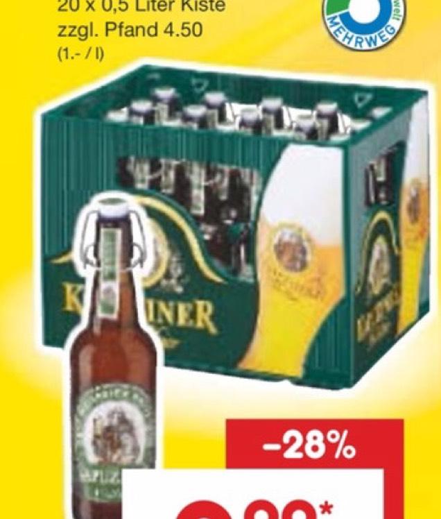 Kapuziner Weißbier 20x0,5l (lokal Netto Bayern)