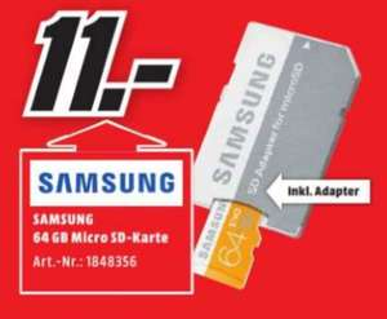 [Lokal Mediamarkt Delmenhorst] Samsung 64GB EVO microSD Speicherkarte 48MB/s + SD-Adapter [Class 10] für 11,-€