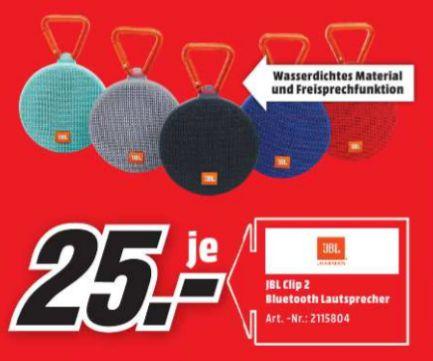 [Lokal Mediamarkt Delmenhorst] JBL Clip 2 Bluetooth-Lautsprecher in allen Farben für je 25,-€