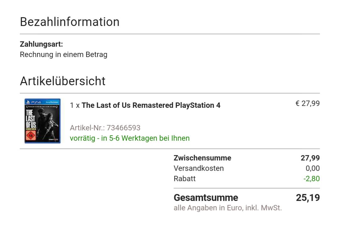 The Last of Us (PS4) für 25,19€ bei Otto.de (Versandkostenfrei)