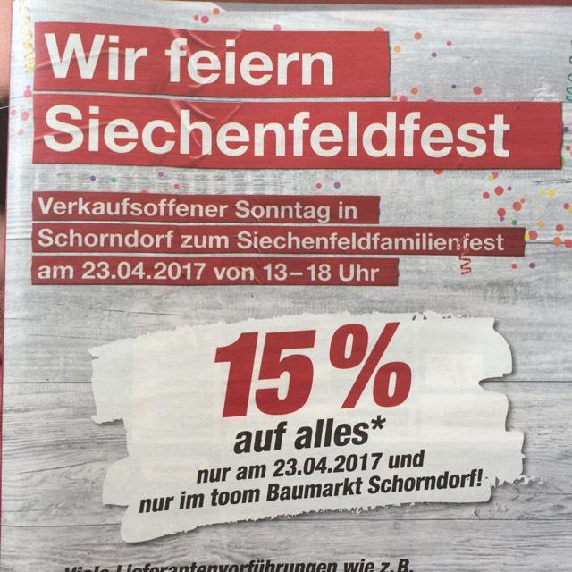"""(73614 Schorndorf Lokal) 15% auf alles """"Toom"""" nur heute!"""