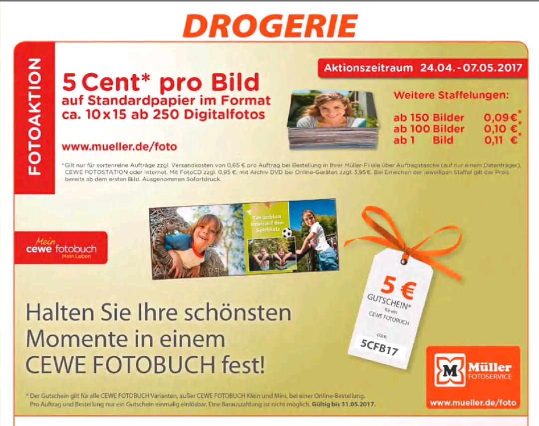 CEWE Fotobuch 5 Cent pro Bild + 5€ Gutschein