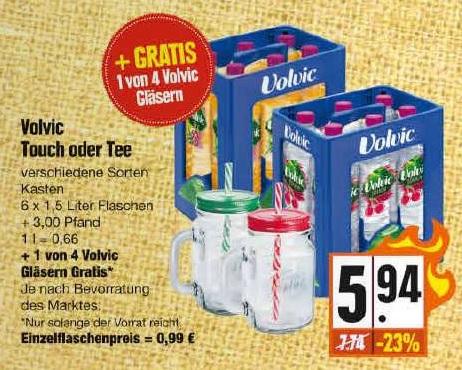 Schöne Volvic Gläser als Gratis Zugabe in Volvic Getränkekästen
