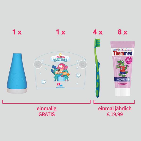Playbrush Zahnbürstenaufsatz + Jahresvorrat Kinderzahnartikel (Jahresabo) inkl. Versand