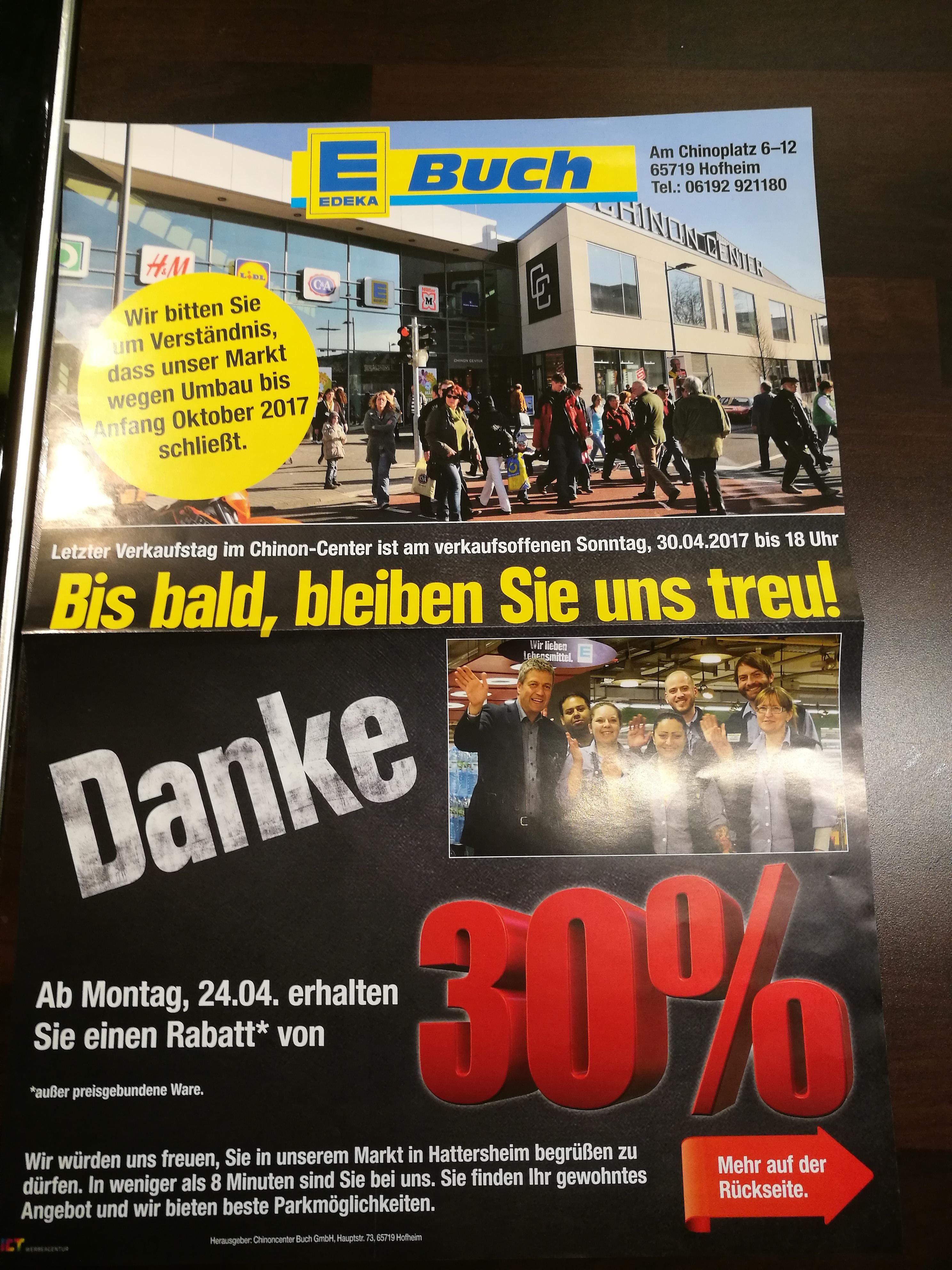 Lokal: Edeka Hofheim amTaunus 30% Nachlass