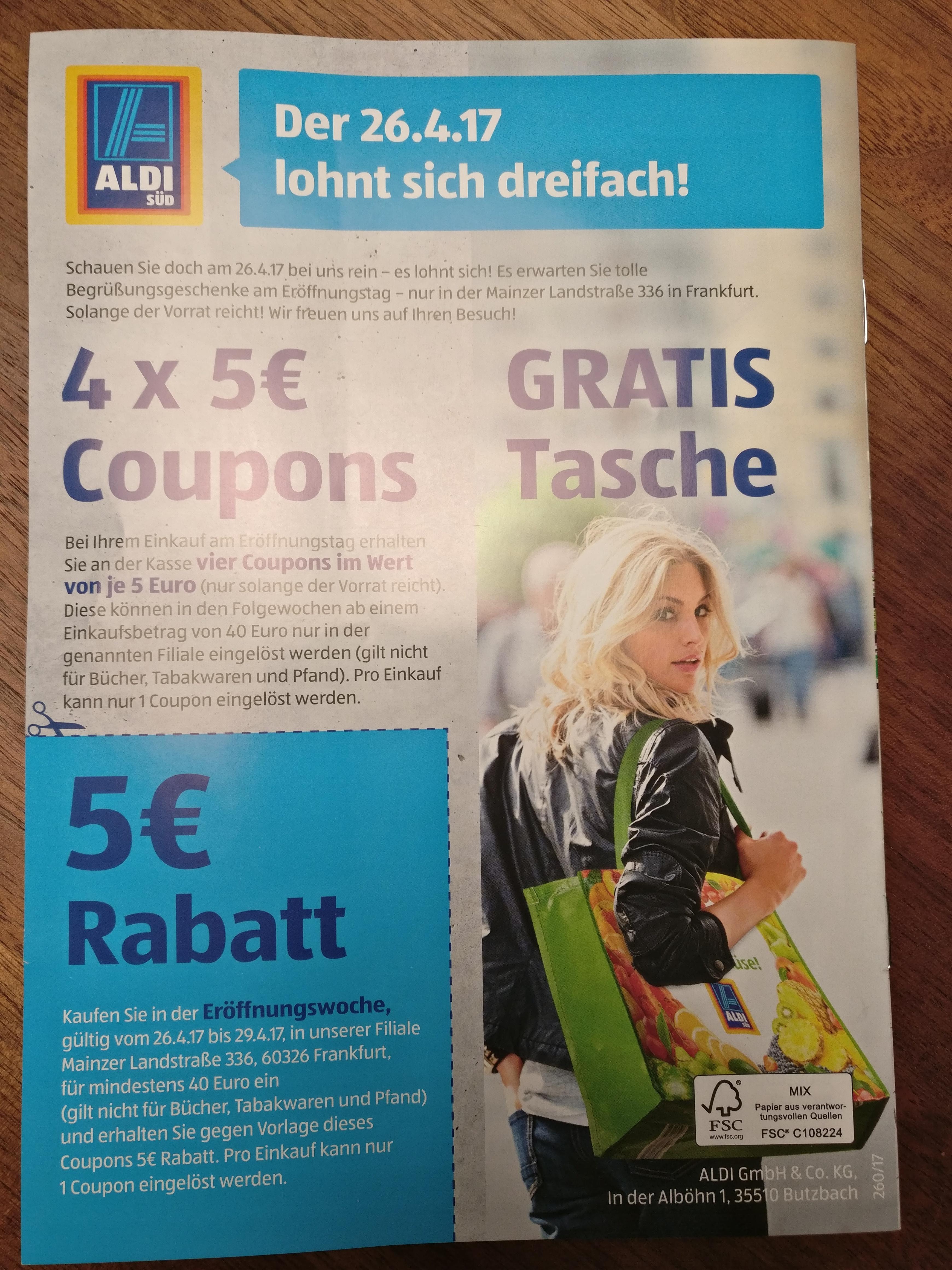 [Lokal] Eröffnungsrabatt Aldi, Mainzer Landstraße (FfM) + gratis Einkaufstasche
