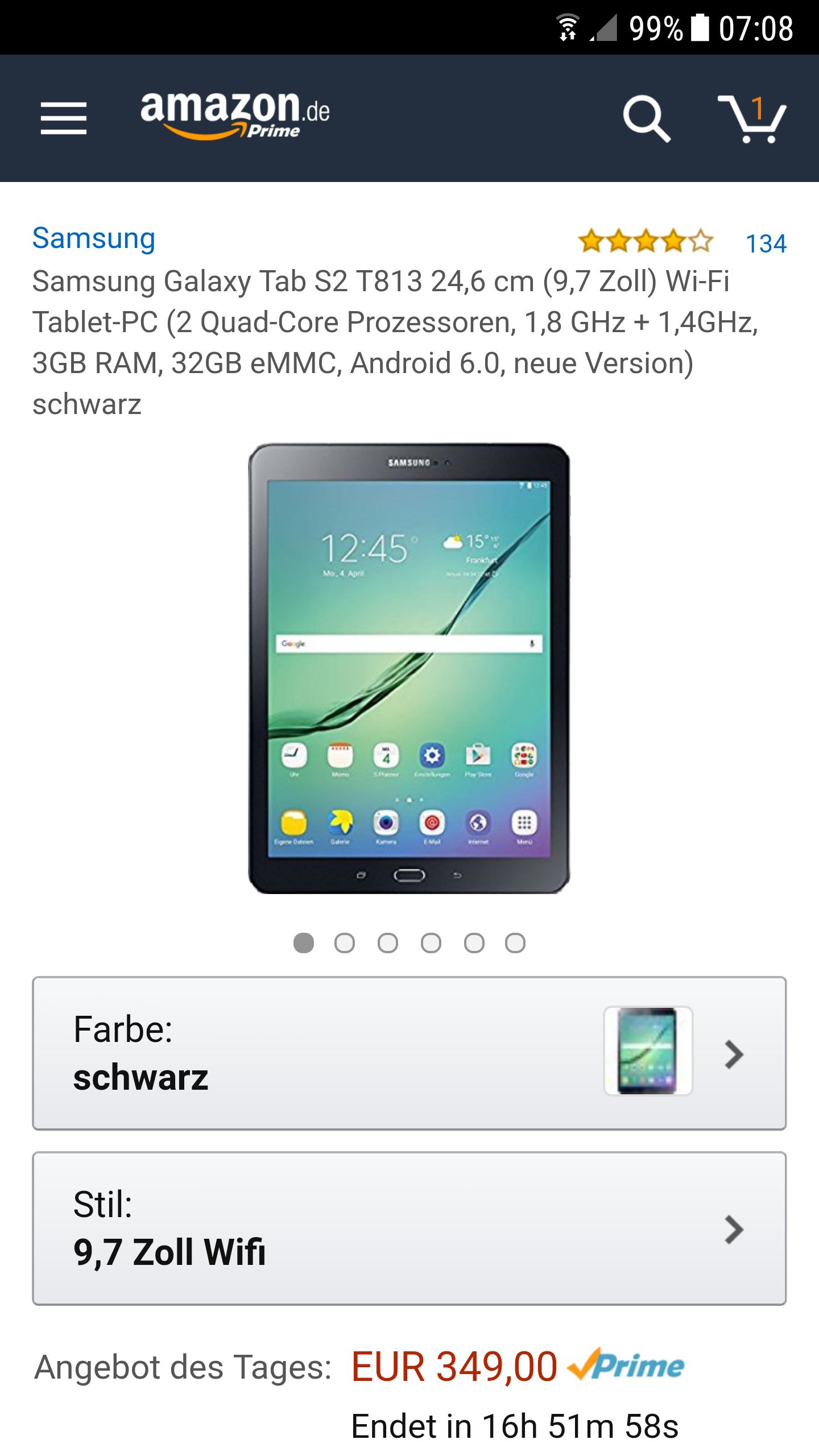 Amazon: Samsung tab s2 9,7 wifi 32gb