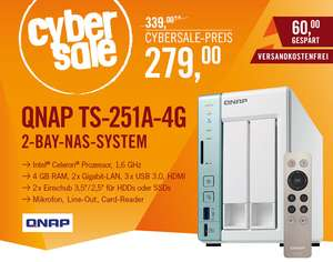 [Cyberport] QNAP TS-251A-4G NAS System 2-Bay als Cybersale
