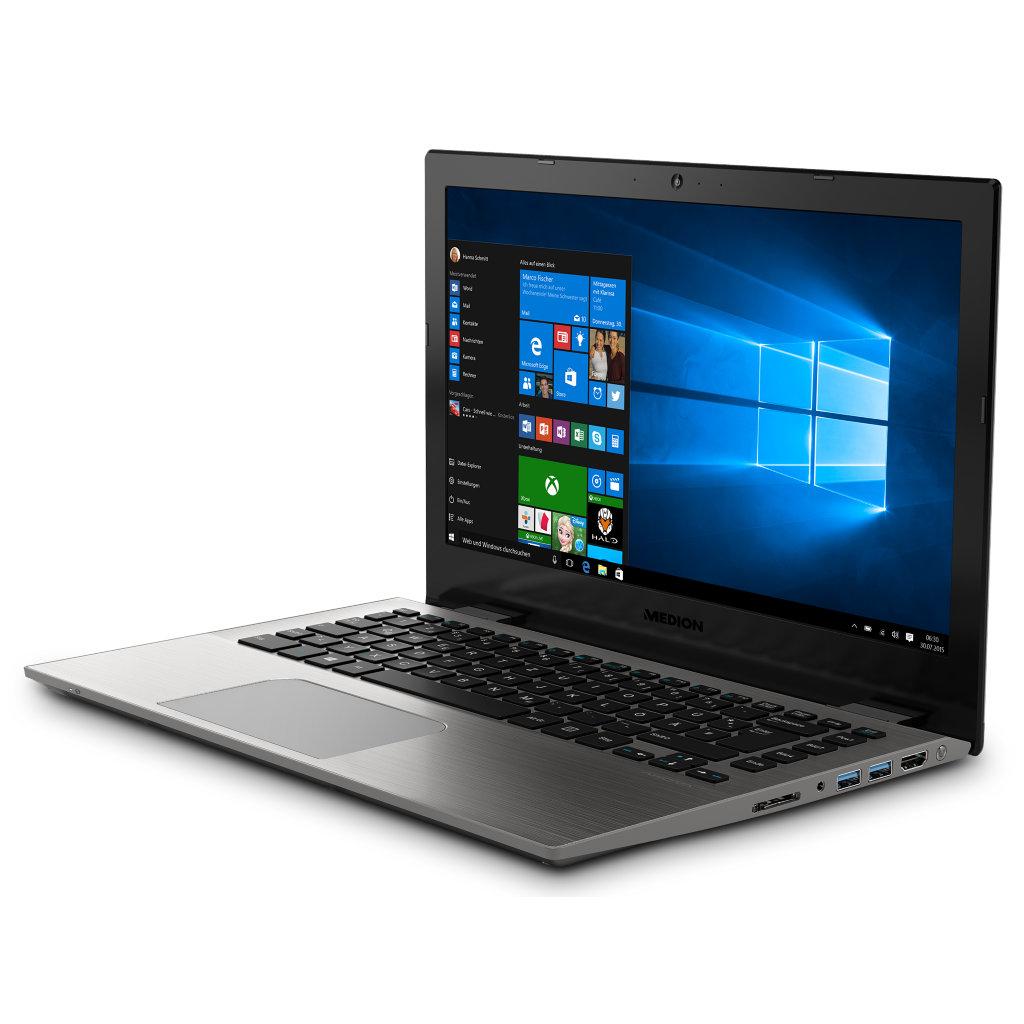 """Medion Akoya S3409: 13,3"""" QHD+ matt, i7-7500U, 8GB RAM, 512GB SSD, Wlan ac + Gb LAN, Bel. Tastatur, Alu-Gehäuse, Win10 für 809,10€ (Medion)"""