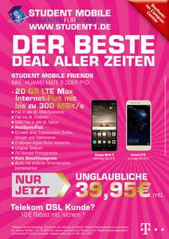 Lokal [Bochum] Telekom LTE 20GB Allnet flat für junge Leute Huawei P10