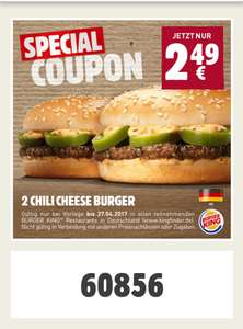 [Burger King - App] 2 Chili Cheese Burger für 2,49€
