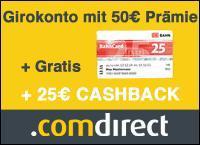Wieder da! 25€ Cashback + 50€ Prämie + BahnCard 25 @ qipu/  comdirect!