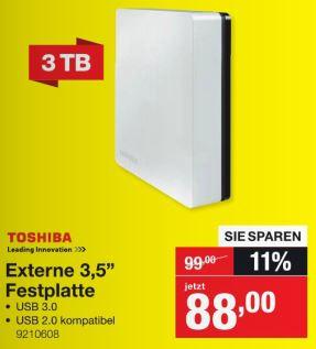 [Staples lokal] Toshiba Externe Festplatte Canvio® Desk, 3 TB, 3,5 Zoll, USB 3.0